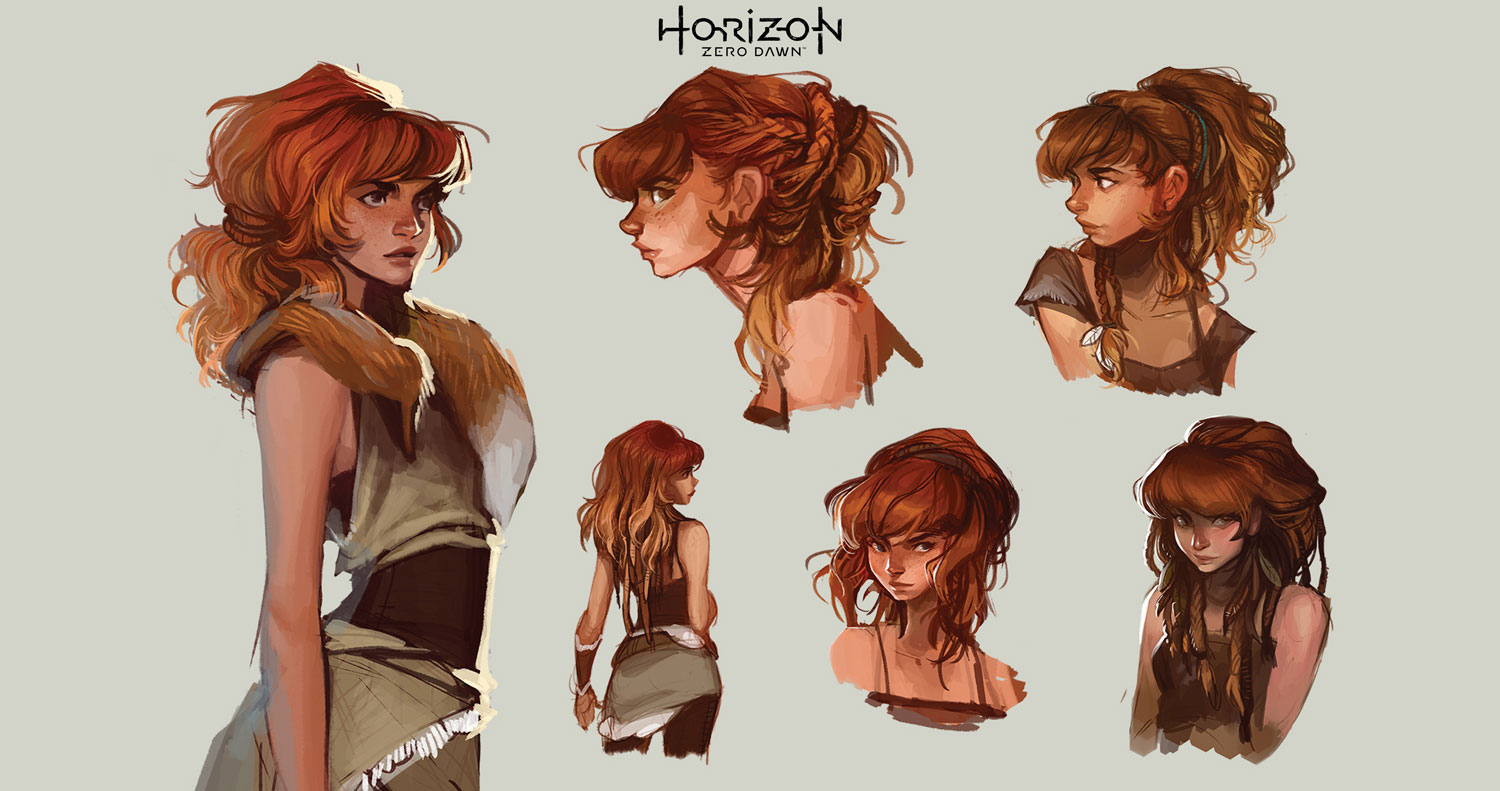 Character Design faces of Aloy